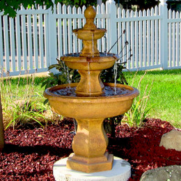Sunnydaze Tropical 3-Tier Garden Water Fountain
