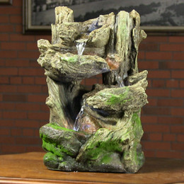Alpine Tiered Log Statue Fountain w/ LED Lights