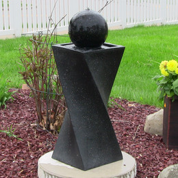 Sunnydaze Black Ball Solar On Demand Fountain with LED Light