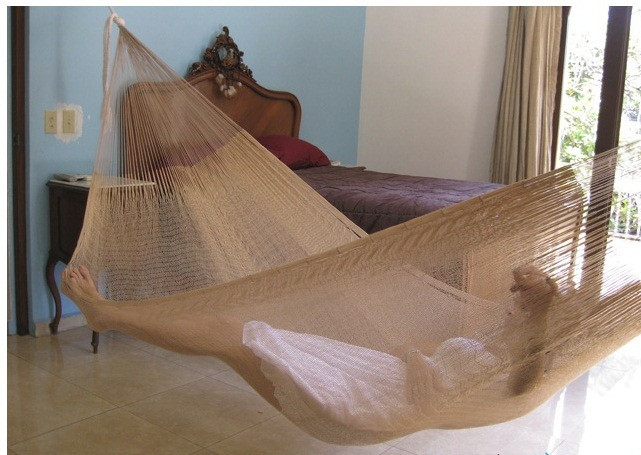 Sunnydaze Natural Colored Mayan Double Hammock WideLong Image 802