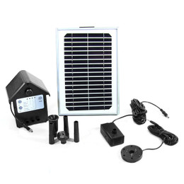 "Sunnydaze Solar Pump and Solar Panel Kit With Battery Pack and LED Light with 56"" Lift"