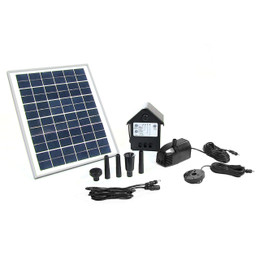 "Sunnydaze Solar Pump and Solar Panel Kit With Battery Pack and LED Light with 78"" Lift"