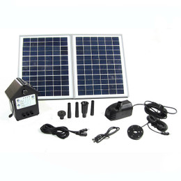 "Sunnydaze Solar Pump and Solar Panel Kit With Battery Pack and LED Light with 118"" Lift"