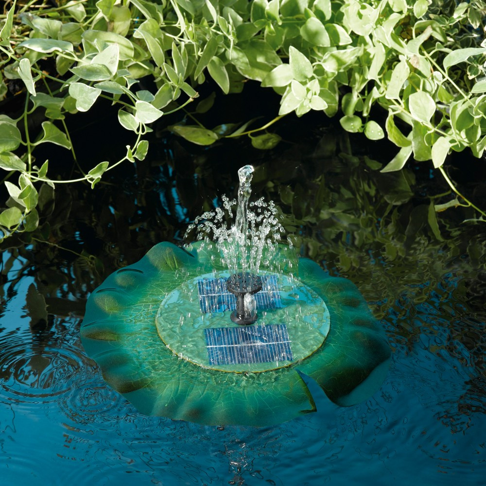 power is supplied directly from the sun circulating water up through the center spout creating an upward spray that can reach a height of 18 - Solar Water Fountain