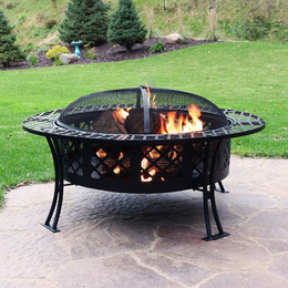 Sunnydaze 40 Inch Diameter Diamond Weave Large Fire Pit with Spark Screen