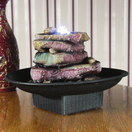 Rock Garden Tabletop Fountain w/ LED Lights by Sunnydaze Decor