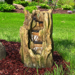 Tree Trunk Falls Fountain w/ LED Lights by Sunnydaze Decor