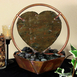 Sunnydaze Copper and Slate Heart Tabletop Fountain