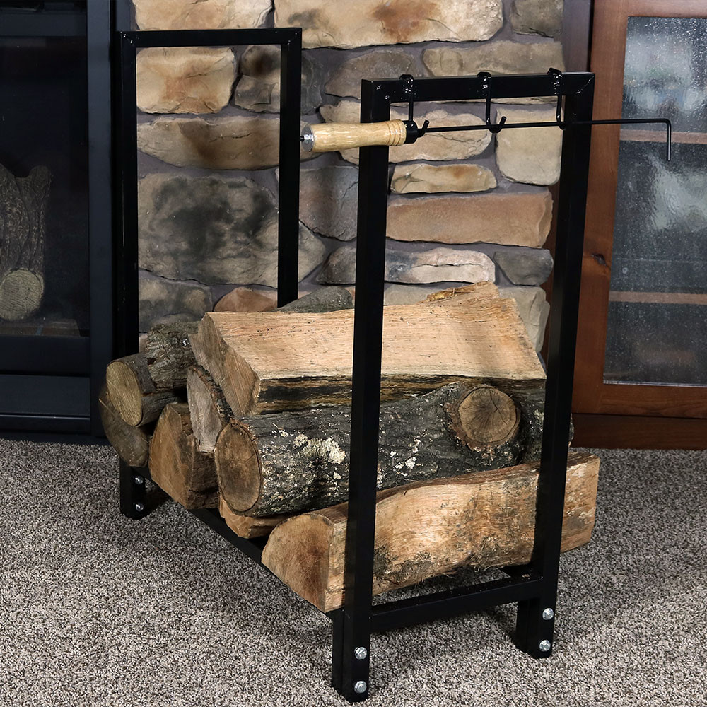Black Steel Firewood Log Rack Indoor Outdoor Storage 30