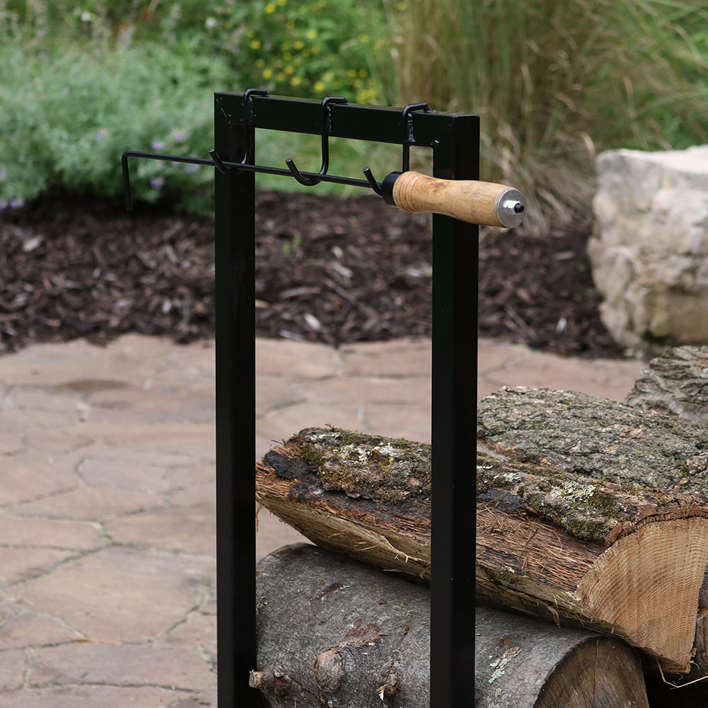 Black steel firewood log rack indoor outdoor storage
