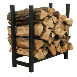 "Sunnydaze 24"" Black Steel Indoor Firewood Log Rack"