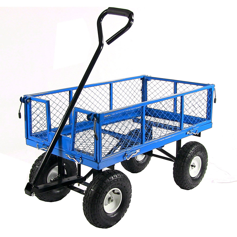 Sunnydaze Utility Cart Folding Sides Blue Picture 589