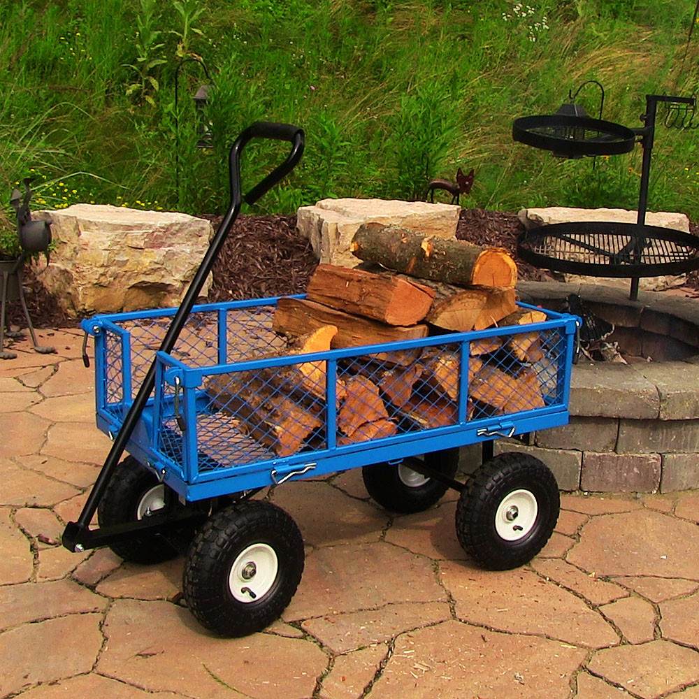 Sunnydaze Heavy Duty Steel Log Cart Blue Picture 579