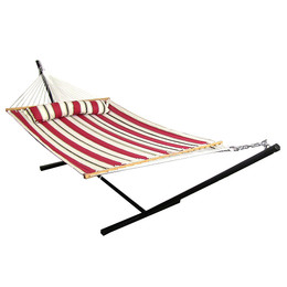 Sunnydaze Peppermint Stripe Quilted Double Fabric Hammock with Spreader Bar, Pillow and Stand Combo