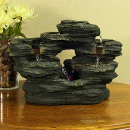 Sunnydaze Staggered Two Stream Rock Tabletop Fountain with Multi-Color LED lights