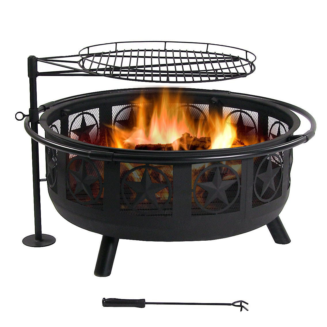 Sunnydaze Black All Star Fire Pit with Cooking Grate, Spark Screen, 30 Inch Diam KF-ASFP-BLK