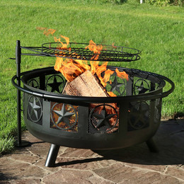 Sunnydaze 30 Inch Diameter Black All Star Fire Pit with Cooking Grate and Spark Screen