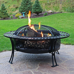 Sunnydaze 40 Inch Diameter Four Star Large Fire Pit Table with Spark Screen