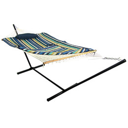 Sunnydaze Lakeview Cotton Rope Hammock with 12 Foot Steel Stand, Pad and Pillow, 350 Pound Capacity