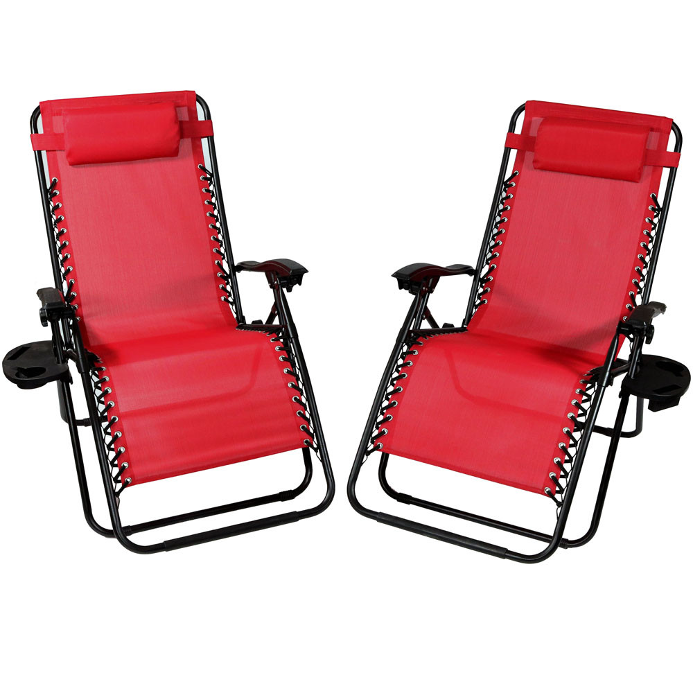 Sunnydaze Red Oversized Zero Gravity Lounge Chair, Set of 2 DL-816