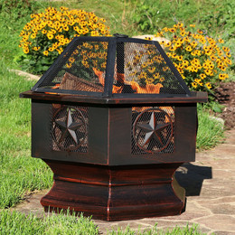 Sunnydaze 28 Inch Hexagon Six Star Fire Pit Hex Shaped Fire Bowl with Spark Screen, Sienna Finish