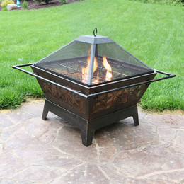 "Sunnydaze 32"" Square Northern Galaxy Fire Pit with Cooking Grate"