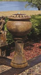 Henri Studio Cast Stone Tall Sunflower Patio Bubbler Fountain