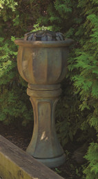 Henri Studio Cast Stone Tall Petals Patio Bubbler Fountain