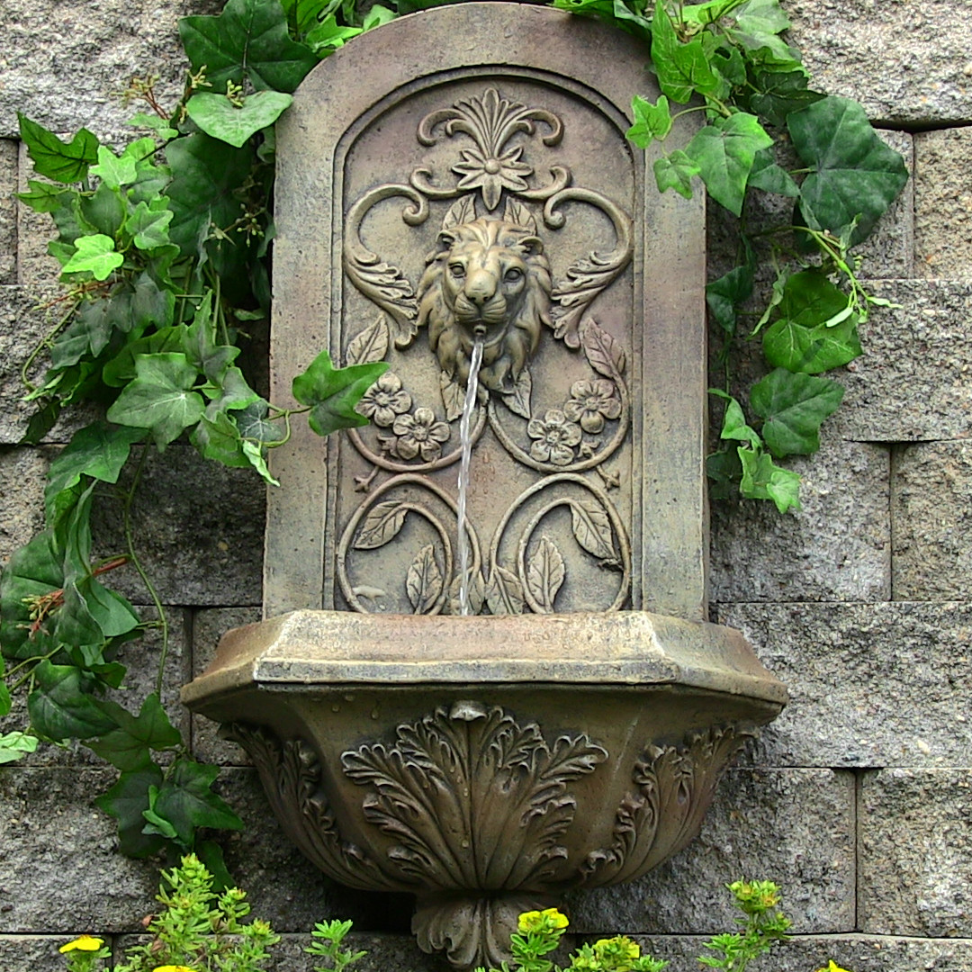 Sunnydaze Decorative Lion Outdoor Wall Fountain Florentine Stone Photo