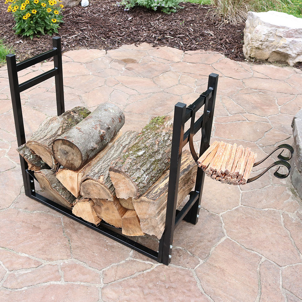 Firewood log rack kindle outdoor heavy duty wood storage