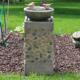 Sunnydaze Birdbath Basin on Pedestal Outdoor Garden Water Fountain