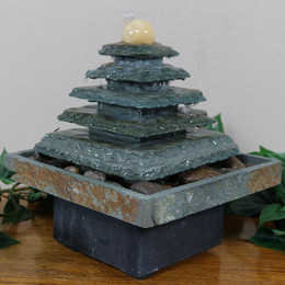 Sunnydaze Slate Pyramid Tabletop Water Fountain