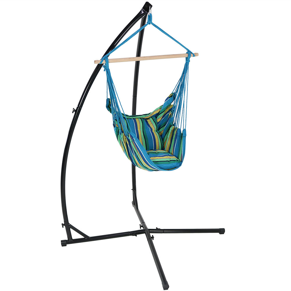 Sunnydaze durable x stand and hanging hammock chair set for Hammock chair stand plans