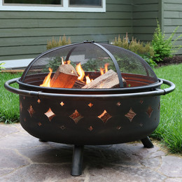 Brushed Metal Diamonds Fire Pit