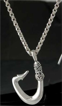 Maori fish hook pendant sterling silver outriderjjewelry image 1 mozeypictures Images