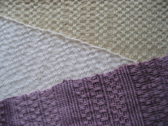 samples of 8 shaft handwoven Bronson spot Dye-Lishus® cotton towels dyed after weaving