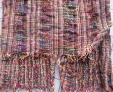 Top fabric: used as weft as is. Bottom fabric added twist then used as weft. Warp has stripes of 20 epi and 10 epi.