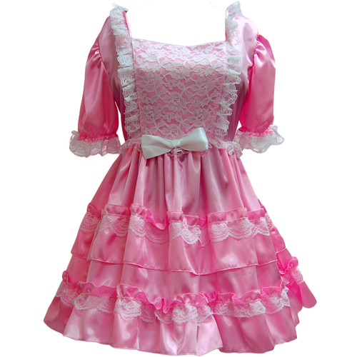 A pink satin sissy dress, with white lace.