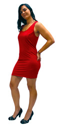 Our Stretch Tank Dress shown in red.