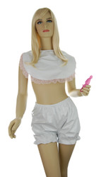Bib shown in white PVC with pink lace trim. PVC Shorty Bloomer shown in white PVC (sold separately).