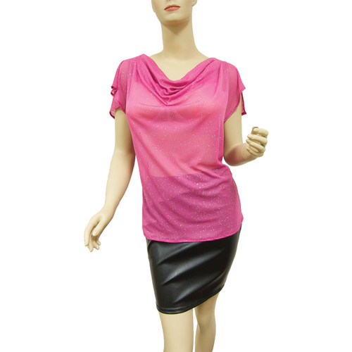 Our best-selling cowl neck top is great for hot summer nights. Shown here in Cosmic Pink