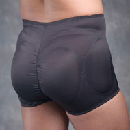 Rear view of padded black panty.