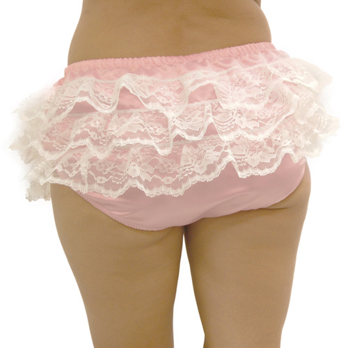Our Satin Rumble Panty shown in pink with white trim across the rear.