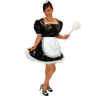 Black PVC maid uniform shown with traditional white lace trim & apron.