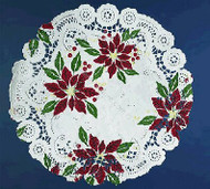 DOILIES POINSETTIA DESIGN 8 IN