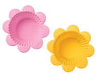 Flower Silicone Cupcake Baking Cups Pink/Yellow 12ct Wilton