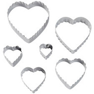 FONDANT CUTTERS DOUBLE HEART 6-PC