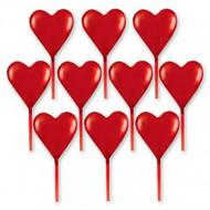 PICKS HEART REDx10 PLASTIC