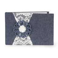 GUEST BOOK JUTE/DENIM FLOWER