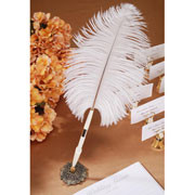 FEATHER PEN AND HOLDER IVORY